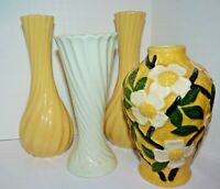 Vintage Vases Set of  Ceramic Yellow Green Swirl Floral Unique Farmhouse Decor