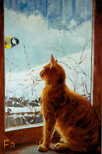 RARE Red Cat by the window blue tit by Metsenatova Russian modern postcard