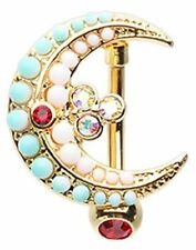 Belly Button Ring Moon Drop Top Down Reverse Navel Jewelry 14 gauge 3/8'' bar