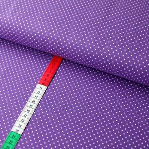 Jerseystoff mit 2mm großen Punkten Dots Tupfen in Weiß auf Violett - hochwertig