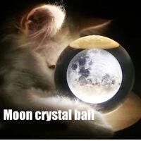 Wooden Music Box Moon Crystal Ball Luminous Rotating 3D Musical Box for Kids