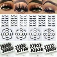 Natural 3D Fake Eyelashes Long Thick Natural False Eye Lashes Set Mink Makeup UK