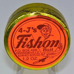 Vintage 1.2oz Gold Tin of 4-J's Fishon Bait out of Grangeville Idaho, 1970's