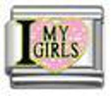 1 I Heart Love My Girls 9MM Stainless Steel Italian Charm!