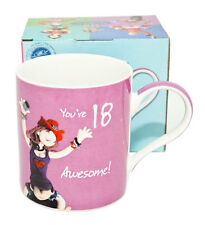 """Happy Birthday Pink Mug -  With Message """"You're 18 - Awesome"""""""