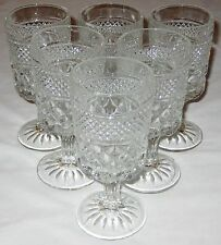 Pedestal 6 oz Pressed Glass Stemware Cocktail Glasses Lot of 6