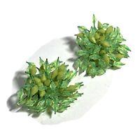 VINTAGE Spring Green Spike Bead CHA CHA EARRINGS Luminous CLIP BACK