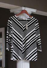 CHICO'S Black White Stripe V-Neck 3/4 Sleeve Shirt Top Size 1 (8-10) NWT $75.00