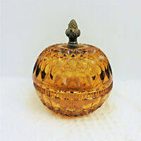 Vintage Indiana Glass Amber Mount Vernon Candy Dish w/Brass Artichoke Finial/EUC