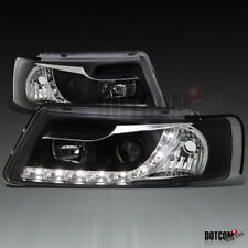 For 1997-2000 VW Passat R8 Style LED Projector Headlights Black Head Lamps Pair