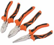 Genuine Draper Soft Grip Pliers Set (Orange) (3 piece) 15385