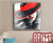 RANAY Hand-painted oil painting Sexy Red Lip Modern Fashion Wall Deocr No Frame