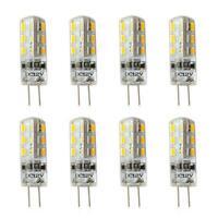 8pcs G4 3W Warm White LED Crystal Corn Bulbs 24 3014 Silicone Lamp 12V DC Light