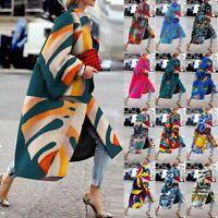 Women Print Pocket Jacket Outerwear Cardigan Overcoat Long Trench Coat Plus CE