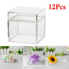 12PCS 5CM Hollow Cube Clear Plastic Candy Boxes For Party Favor Gift Candies