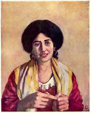 Napoli: Donna che Lavora a Maglia. Costumi. Stampa Antica + Passepartout. 1904
