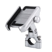 """Silver 360° Motorcycle Motorbike Handlebar Mount Holder For 4-6"""" Cell Phone GPS"""