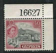 CYPRUS; 1955 early QEII issue fine Mint hinged 30m. Corner value