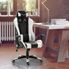 Racecar Styled Office Chair Gaming Seat Swivel Adjustable Home Office White