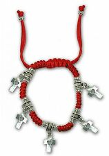 Red string lucky bracelet from Jerusalem, with 5 pendants of heart cross gift