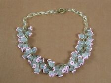 Vintage Lucite Chain Frosted Glass Bead Choker Necklace Possibly Miriam Haskell
