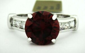 GARNET 4.18 Cts & WHITE SAPPHIRE RING 14k WHITE GOLD PLATED *** New With Tag ***