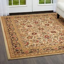 "Ivory Oriental Persian Round Area Rug 8x8 Border  Carpet - Actual 7'10""x7'10"""