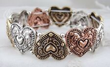 Silver Gold Copper Heart Stretch Bracelet Fashion Jewelry NEW