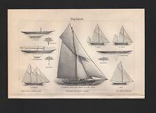 Lithografie 1908: Segelsport. Segeljacht Slup Schoner Yawl Ketsch Schwertjacht
