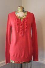 GAP Cashmere Red Lightweight Ruffle Front Sweater Shirt Women's Size Medium M
