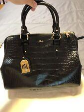 Lauren Ralph Lauren Women's Leather Purse Black Crocodile Embossed