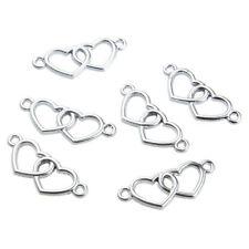 10X Gold/Silver Color Double Love Heart Connector Charm Pendant Fit DIY Bracelet