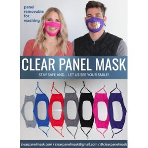 clear panel face mask with removable, anti-fog clear panel, 7 colors, one size