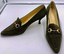 Gucci Olive Green Suede Pumps with Brass Horsebit Buckles Size 9 1/2 B