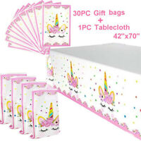 Unicorn Party Supplies 30 Pack Plastic Bags & Tablecloth Set Gift Treat