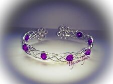Celtic Wire Bracelet / Bangle....Silver Plated & Magenta Beads