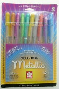 Sakura Gelly Roll Metallic Opaque Ink 0.4mm Medium Line 1.0mm Line 10 Pens 57370