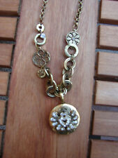 "East locket and  flower charm necklace with chunky chain, 18.25"" chain"