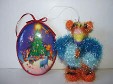 Disney Pooh Piglet Tigger Eeyore Christmas Ornament Lot Of 2 Sparkly 1998