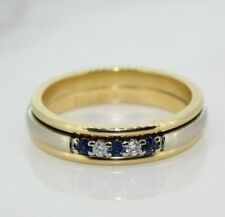 18ct Yellow Gold Ruby, Diamond and Sapphire Spinner Ring (Size N)