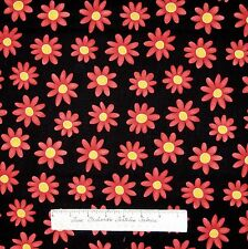 Floral Fabric - Cat's Meow Orange-Red Flowers on Black - Henry Glass 29""