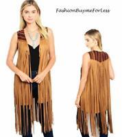 70'S Vintage Western BOHO Hippie Camel Faux Suede Fringed Rodeo Cardigan Vest