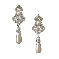 Designer Ivory Pearl Drop Bridal Earrings Dangling Vintage Crystal Earrings