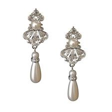 Designer SassB Pearl Drop Bridal Earrings Dangling Vintage Crystal Earrings