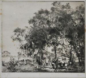 ERNEST WARNER (1879-1968) RARE Original etching Drover's Cook Making Camp 1922
