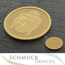 """NEU Quoins Scheibe / Münze Gr. M Buddha """"Peace comes from within"""" Edelstahl Gold"""