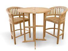"Windsor's Genuine Grade A Teak 39"" Bar Round Dropleaf Table w/2 Large Bar Chairs"