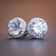 Princess Cut Lab Simulated Diamond Crusted Round Sterling Silver Stud Earring