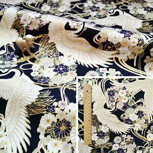 BLACK Meter/Square/FQ Cotton Jersey Fabric Japanese Kimono Birds Crane Flowers