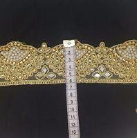 Gold Trim Bridal lace Ribbon Sewing Craft Wedding Accessory Sari Border 1 yard